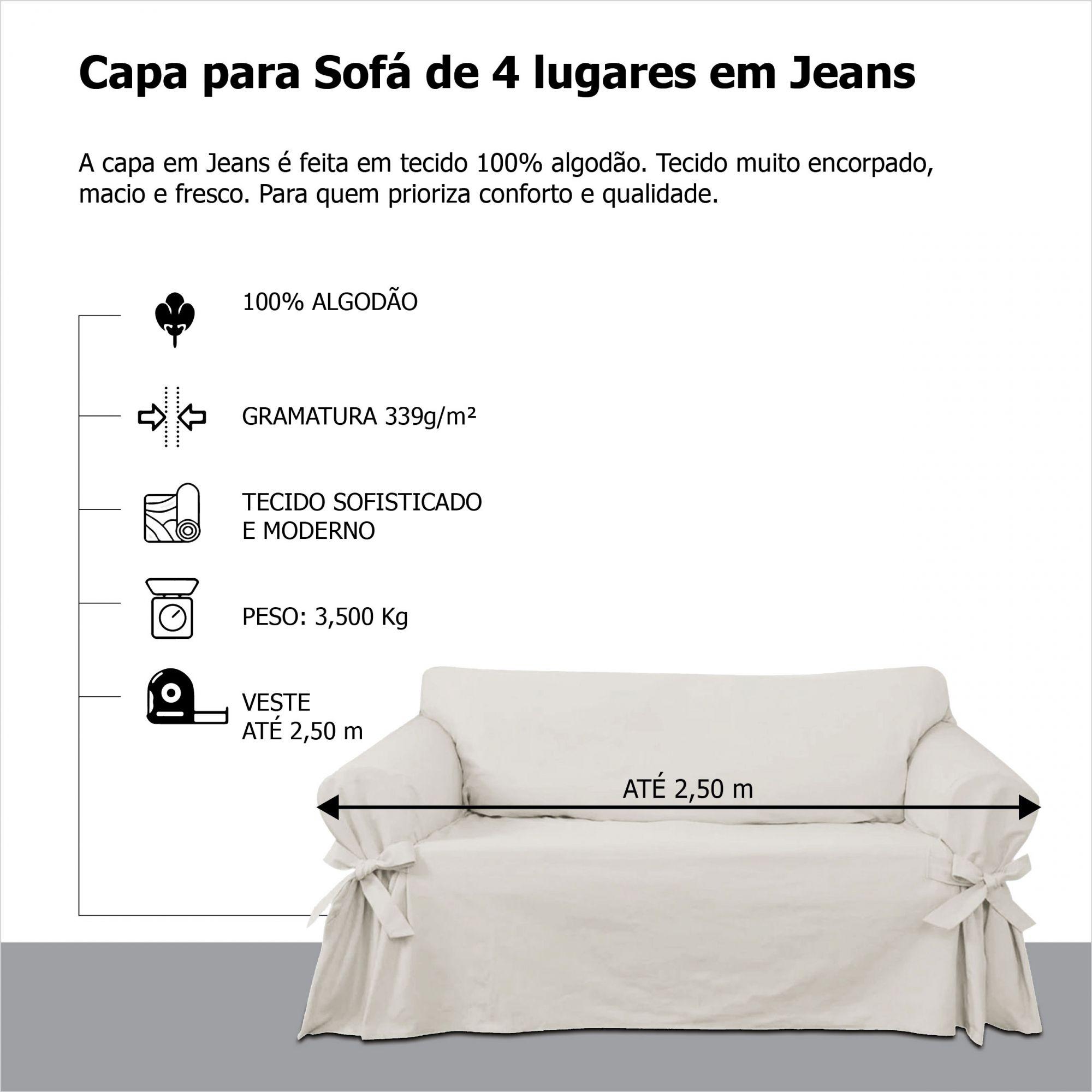 Capa para Sofá de 4 Lugares em Jeans Claro