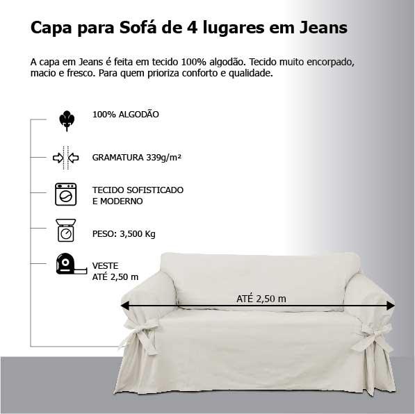 Capa para Sofá de 4 Lugares em Jeans Claro Ecológico