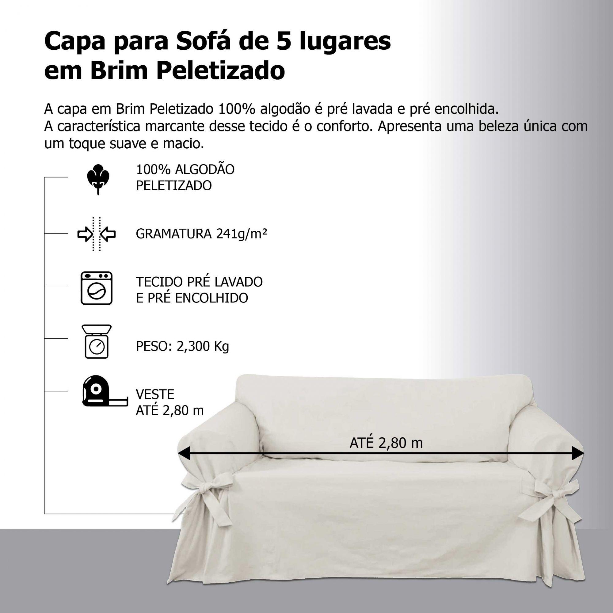 Capa para Sofá de 5 Lugares em Brim Sarja 100% Algodão