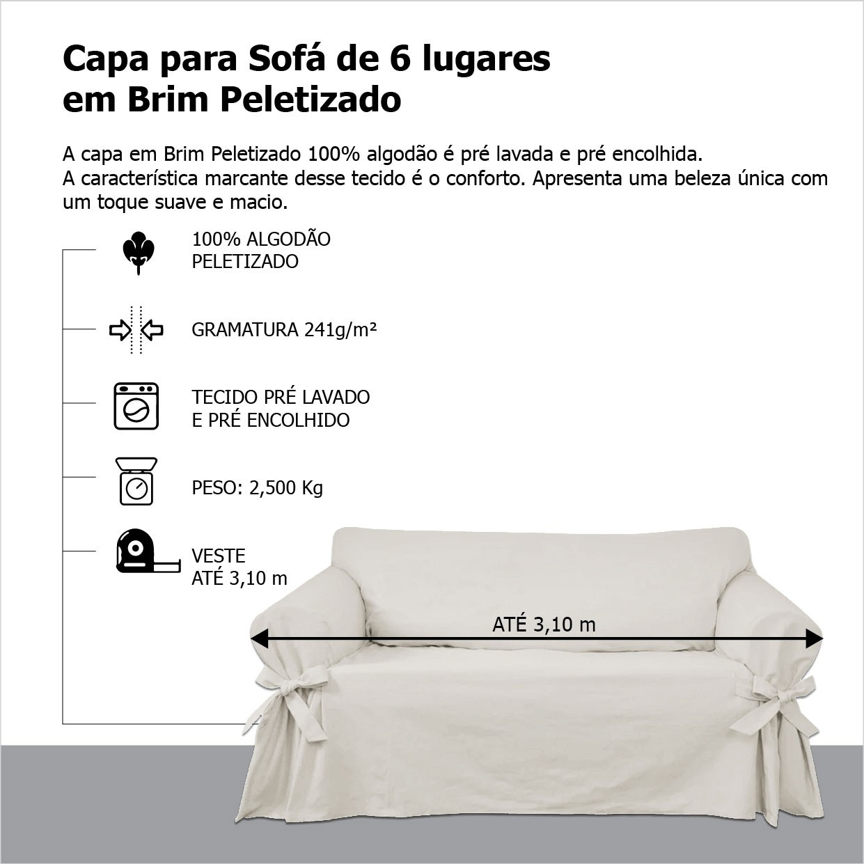 Capa para Sofá de 6 Lugares em Brim Sarja 100% Algodão Cor Crua