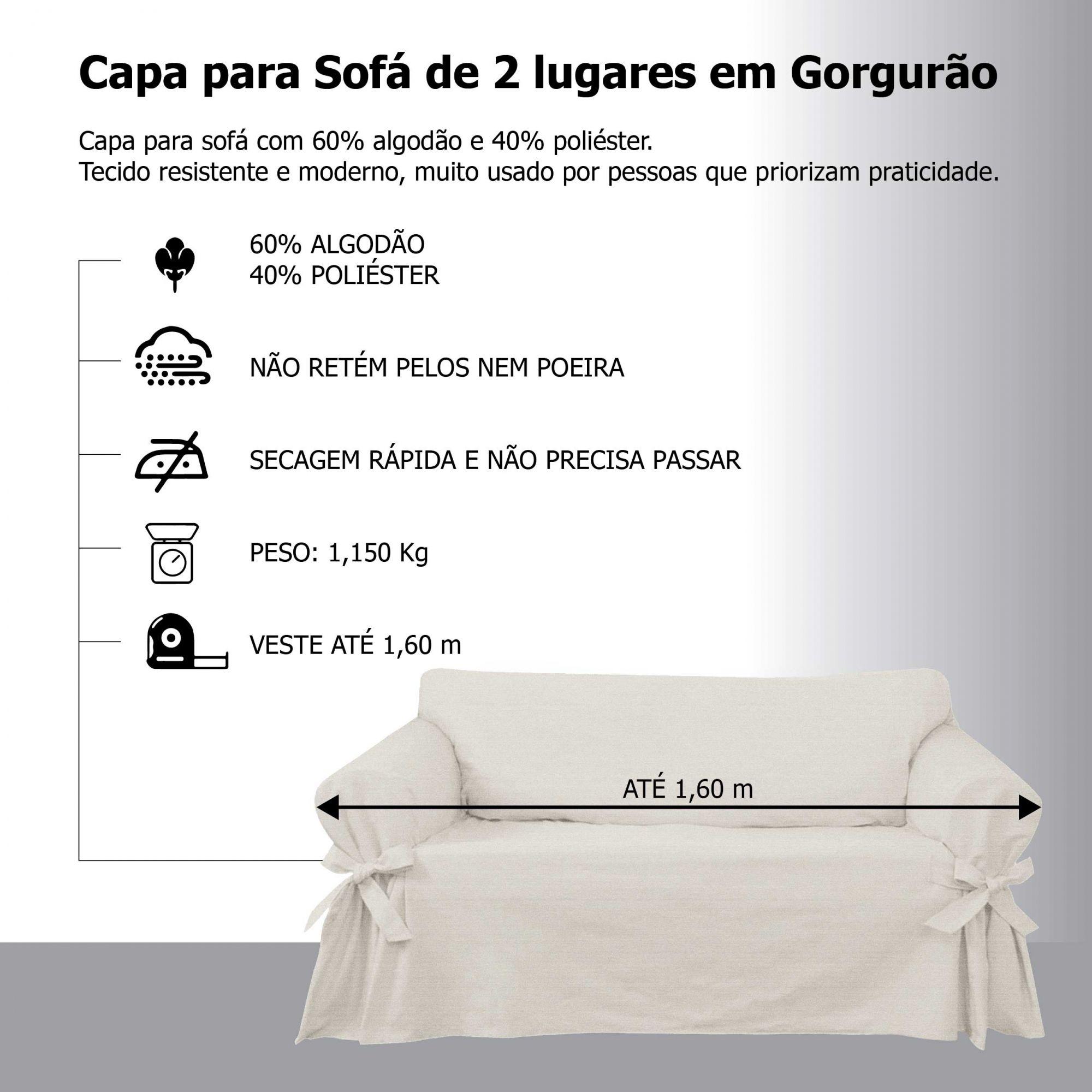 Kit 2 Capas para Sofá 2 e 3 Lugares em Gorgurão