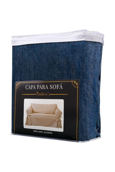 Kit 2 Capas para Sofá 2 e 3 Lugares em Jeans