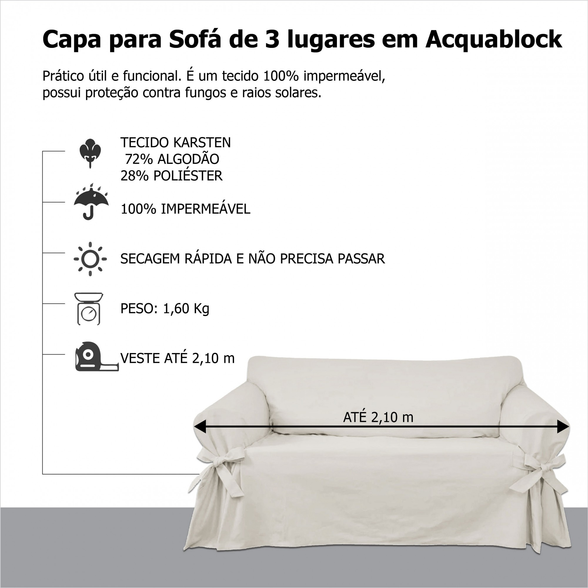 Kit 2 Capas para Sofá 3 e 4 Lugares em Acquablock Impermeável