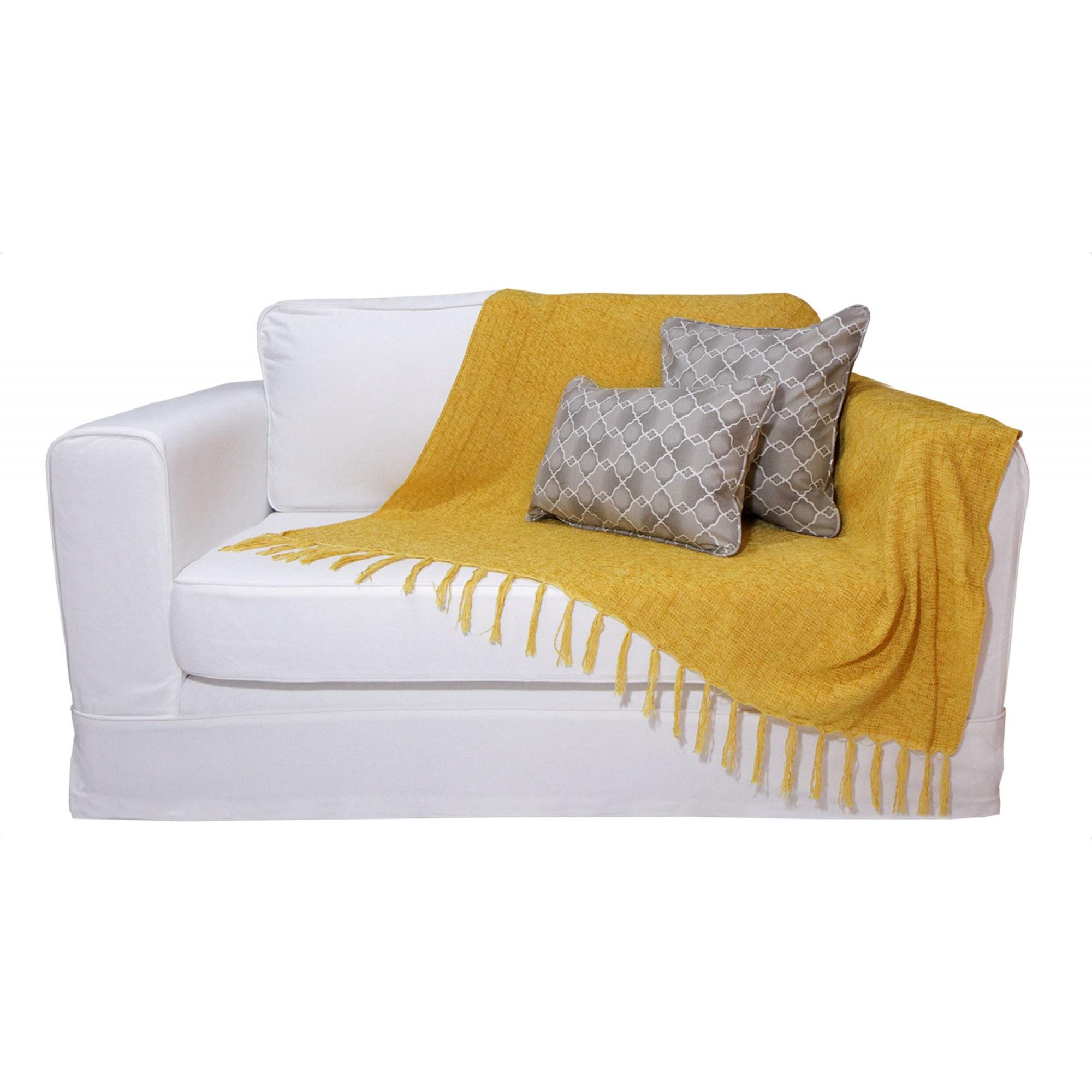 Manta Chenille Amarela 1,20m x 1,80m