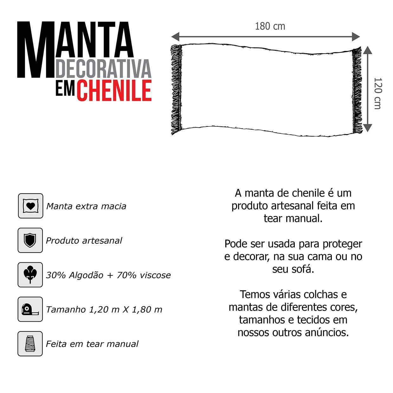 Manta Chenille Crua Off White 1,20m x 1,80m
