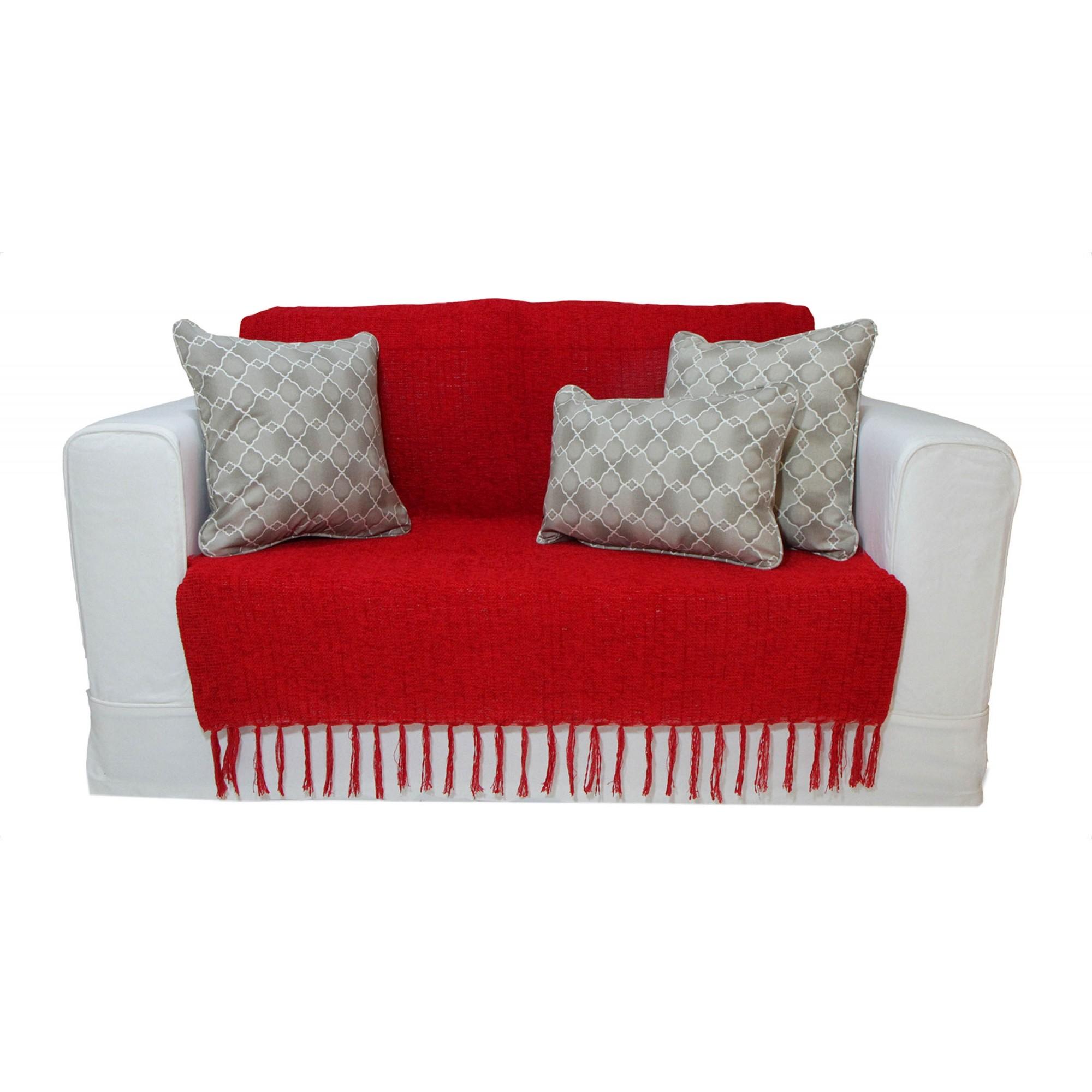 Manta Chenille Vermelha 1,20m x 1,80m