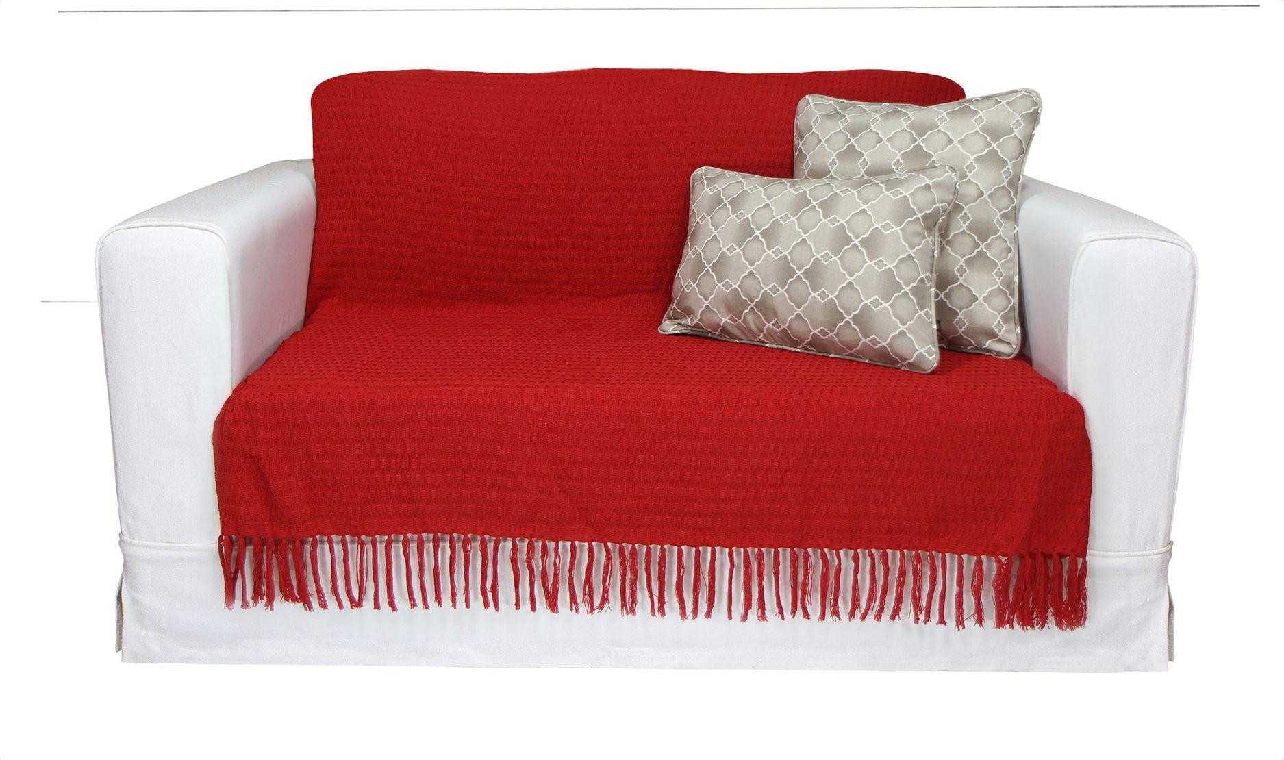 Manta Decorativa 1,80m X 1,30m Cor Vermelho
