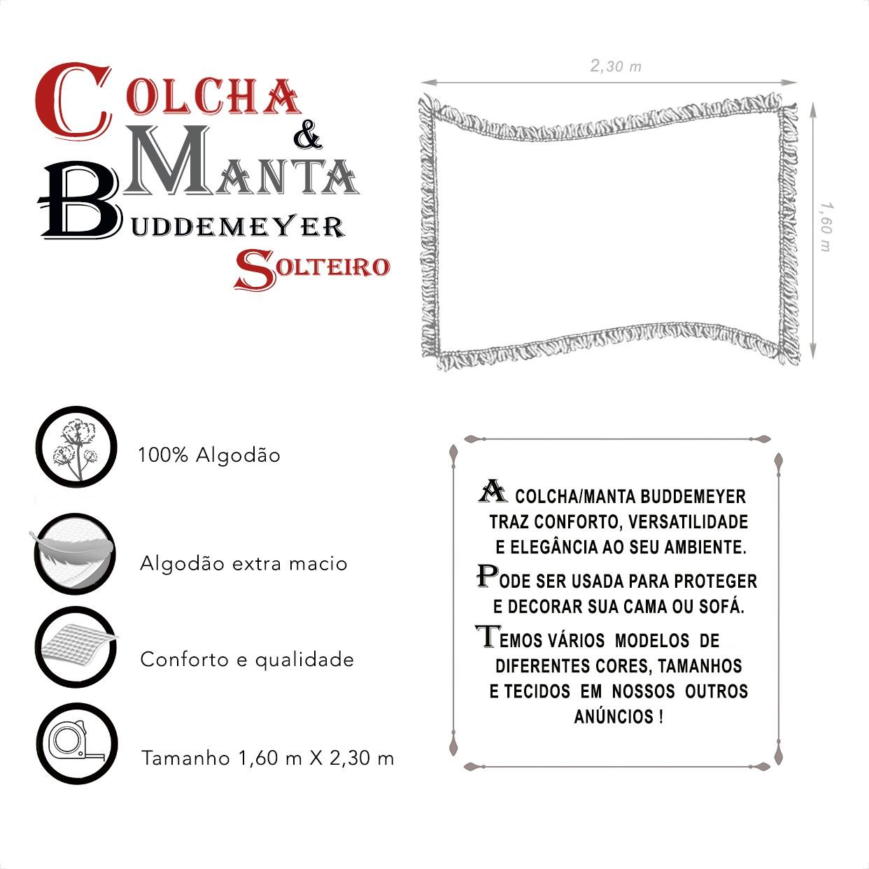 Manta e Colcha Buddemeyer Solteiro Cinza Claro 1,60m x 2,30m