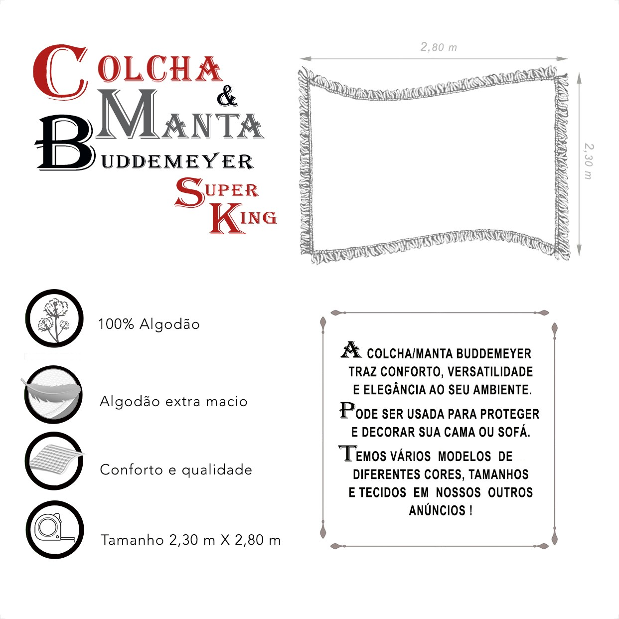 Manta e Colcha Buddemeyer Super King Azul 2,30m x 2,80m