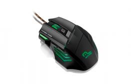 Mouse Gamer Warrior Laser Profissional 7 Botões Preto/Verde MO207 - Multilaser