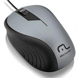 Mouse USB (embor) 1200dpi MO225 cinza/preto - Multilaser