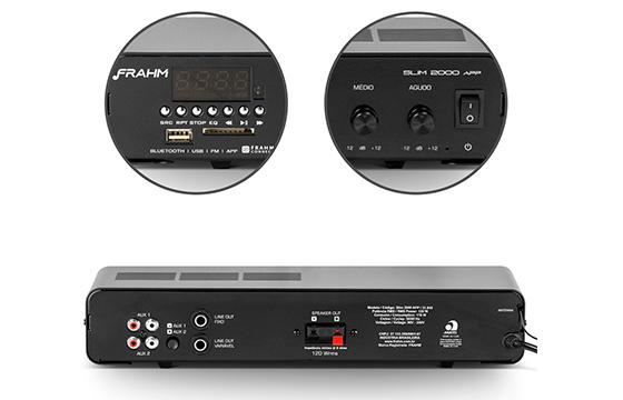 Amplificador de Som Ambiente Frahm Receiver Slim 2000 APP