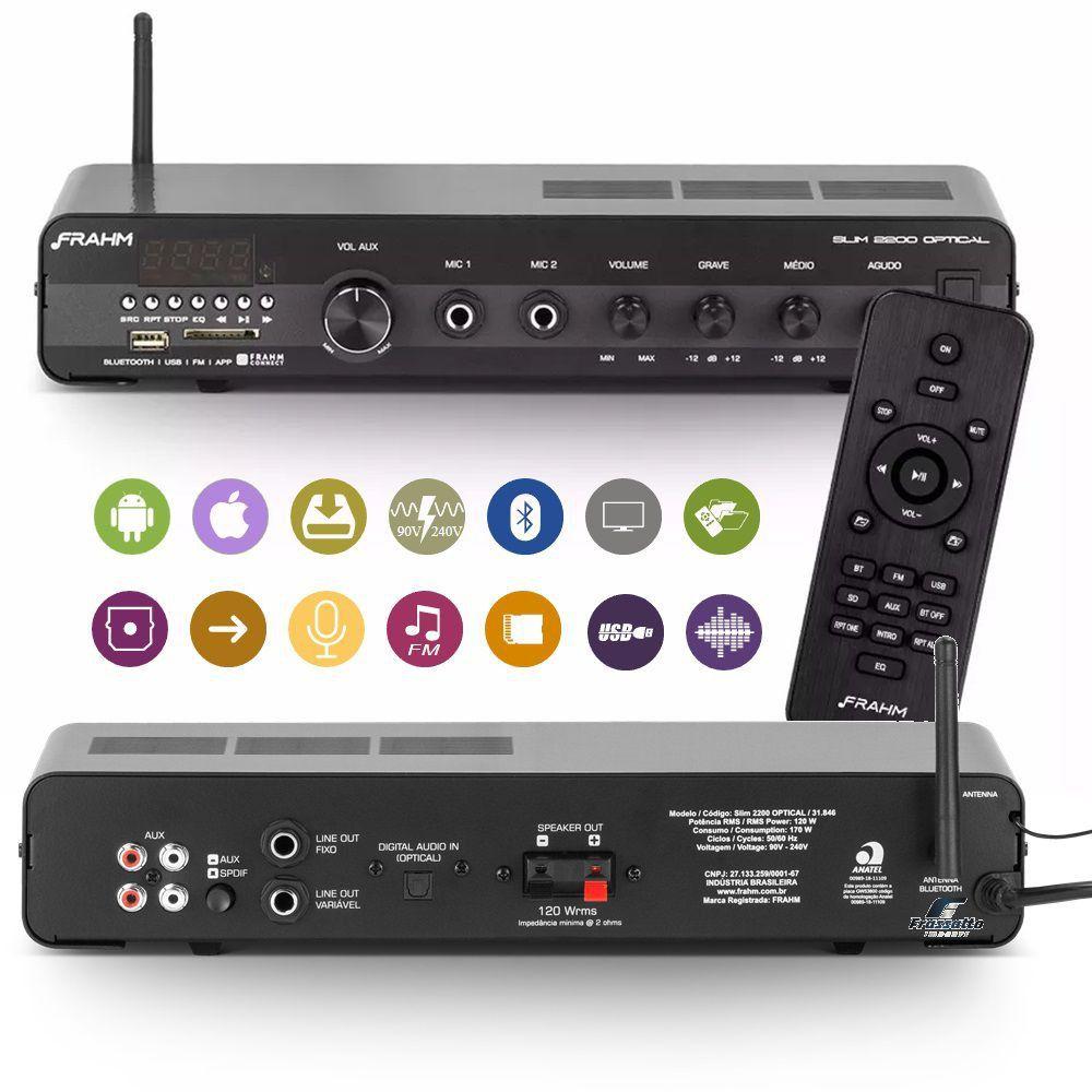 Amplificador de Som Ambiente Frahm Receiver Slim 2200 Optical