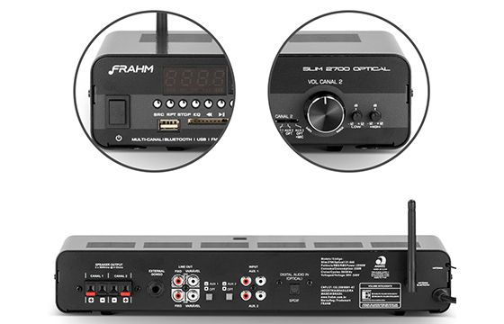 Amplificador de Som Ambiente Frahm Receiver Slim 2700 Optical