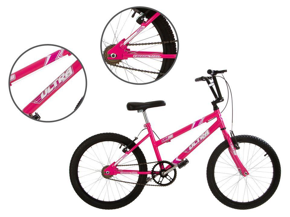 Bicicleta Aro 20 Ultra Bikes Feminina Rosa