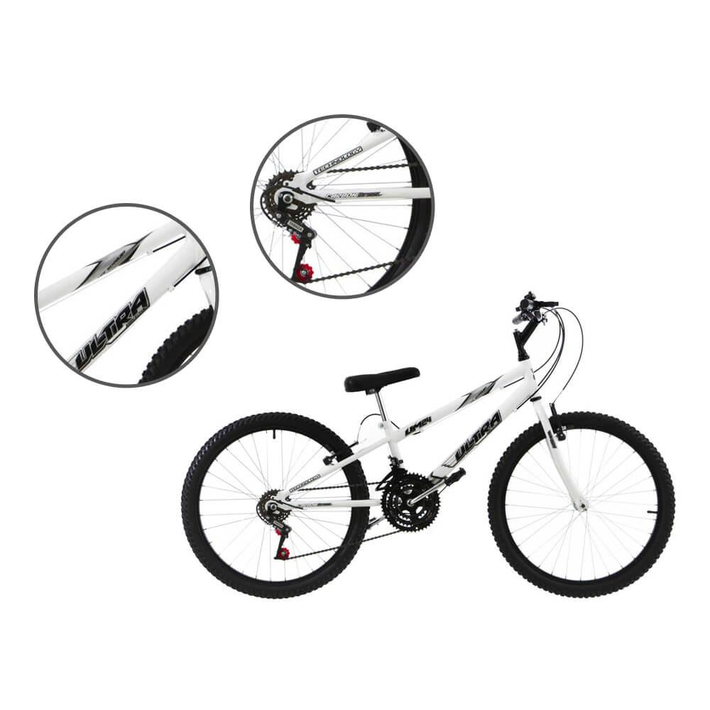 Bicicleta Aro 24 18 Marchas Ultra Bikes Rebaixada Branco BMR24-01BC