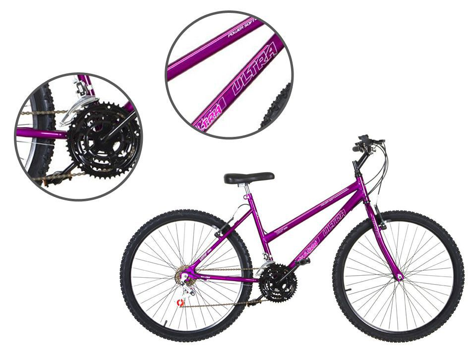 Bicicleta Aro 26 18 Marchas Ultra Bikes Feminina Lilas
