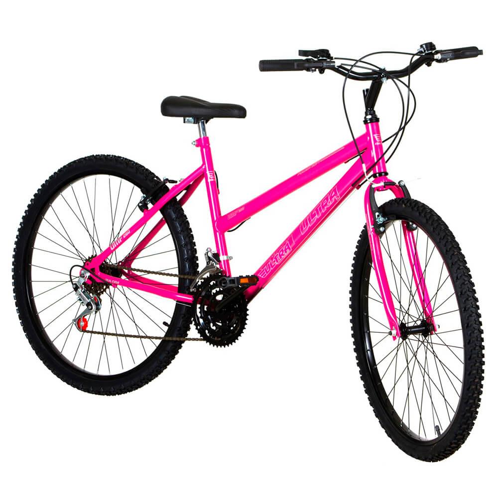 Bicicleta Aro 26 18 Marchas Ultra Bikes Feminina Rosa BMF26-01RS