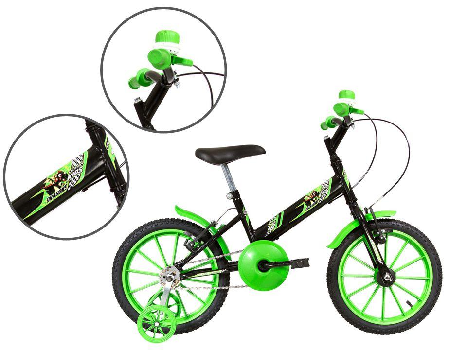 Bicicleta Infantil Aro 16 Ultra Kids T Preto/Verde