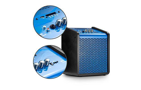 Caixa de Som Amplificada Frahm Chroma Battery Blue 100 WRMS USB Bluetooth - Azul