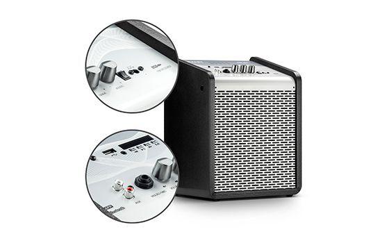 Caixa de Som Amplificada Frahm Chroma Battery Silver 100 WRMS USB Bluetooth - Prata