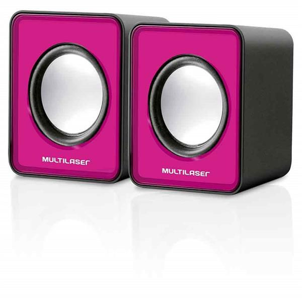 Caixa de Som Mini 3W USB 2.0 rosa SP198 - Multilaser