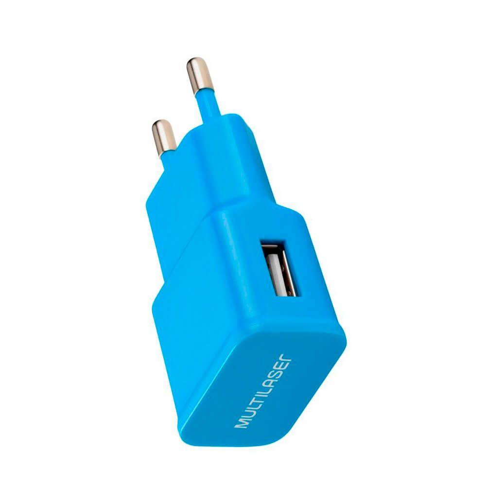 Carregador de Parede Smartogo Bivolt com Entrada USB Azul Multilaser - CB080A