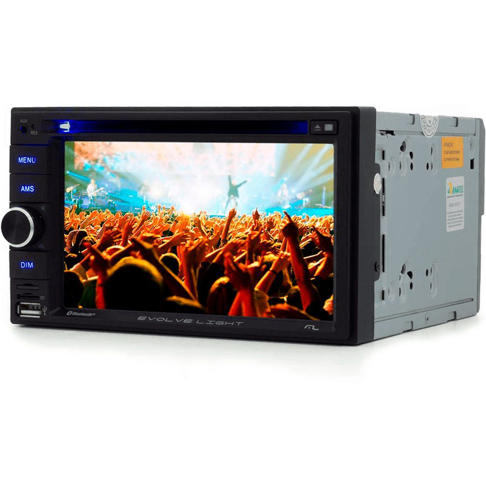 "Central Multimídia Evolve Light 6,2"" 2 Din DVD 4x50w BT Rádio SD USB AUX Multilaser - P3321"