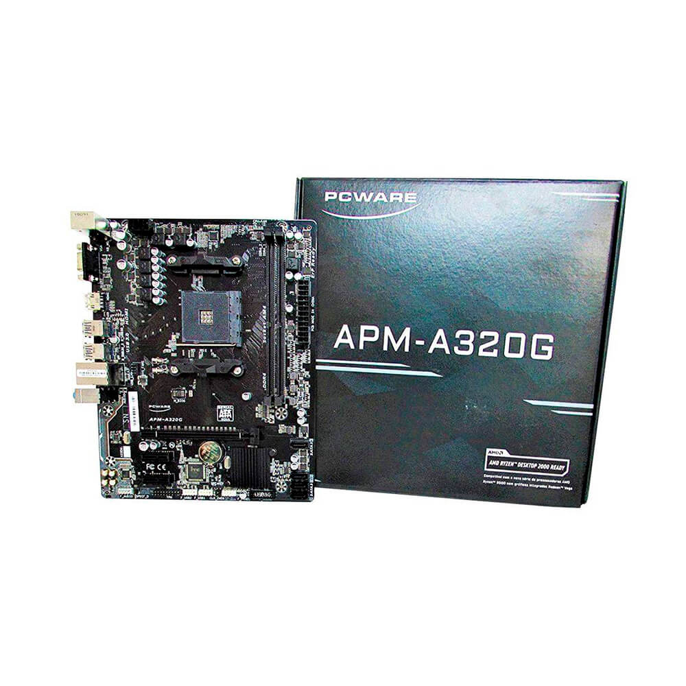 Combo Placa Mãe PCWARE AMD RYZEN APM-A320G Raid M-ATX AM4 + AMD RYZEN 3 2200G 3.5GHZ