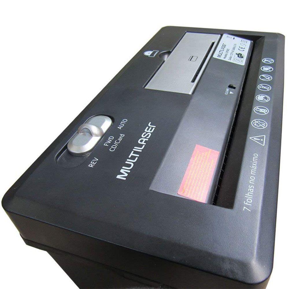 Fragmentadora de papel e cartão até 7 folhas com cesto 220V Preta Multilaser - OF004