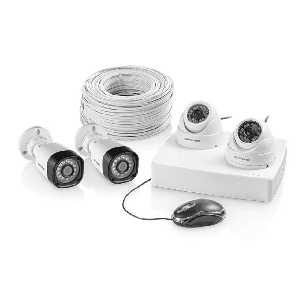 Kit Segurança DVR AHD 720P + 2 Câmeras Bullet e 2 Câmeras Dome 12 LED Branco SE118 Multilaser