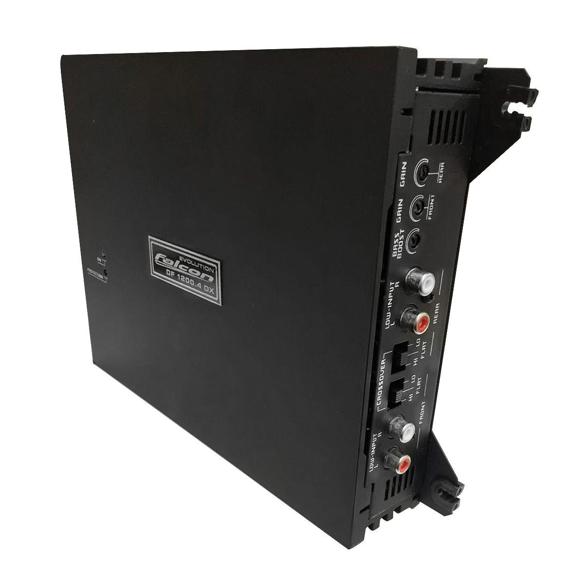 Módulo de Potência Falcon DF 1200.4DX - 4X300WRMS 2ohms configurável  4/3/2 canais RCA