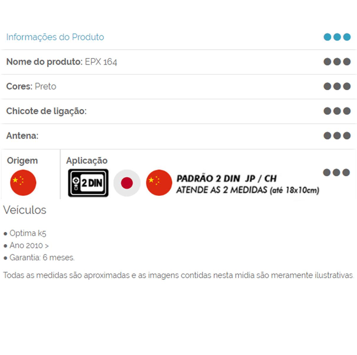 Moldura 2 Din Kia Optima K5 2010 até 2019 JP CH Expex - EPX 164