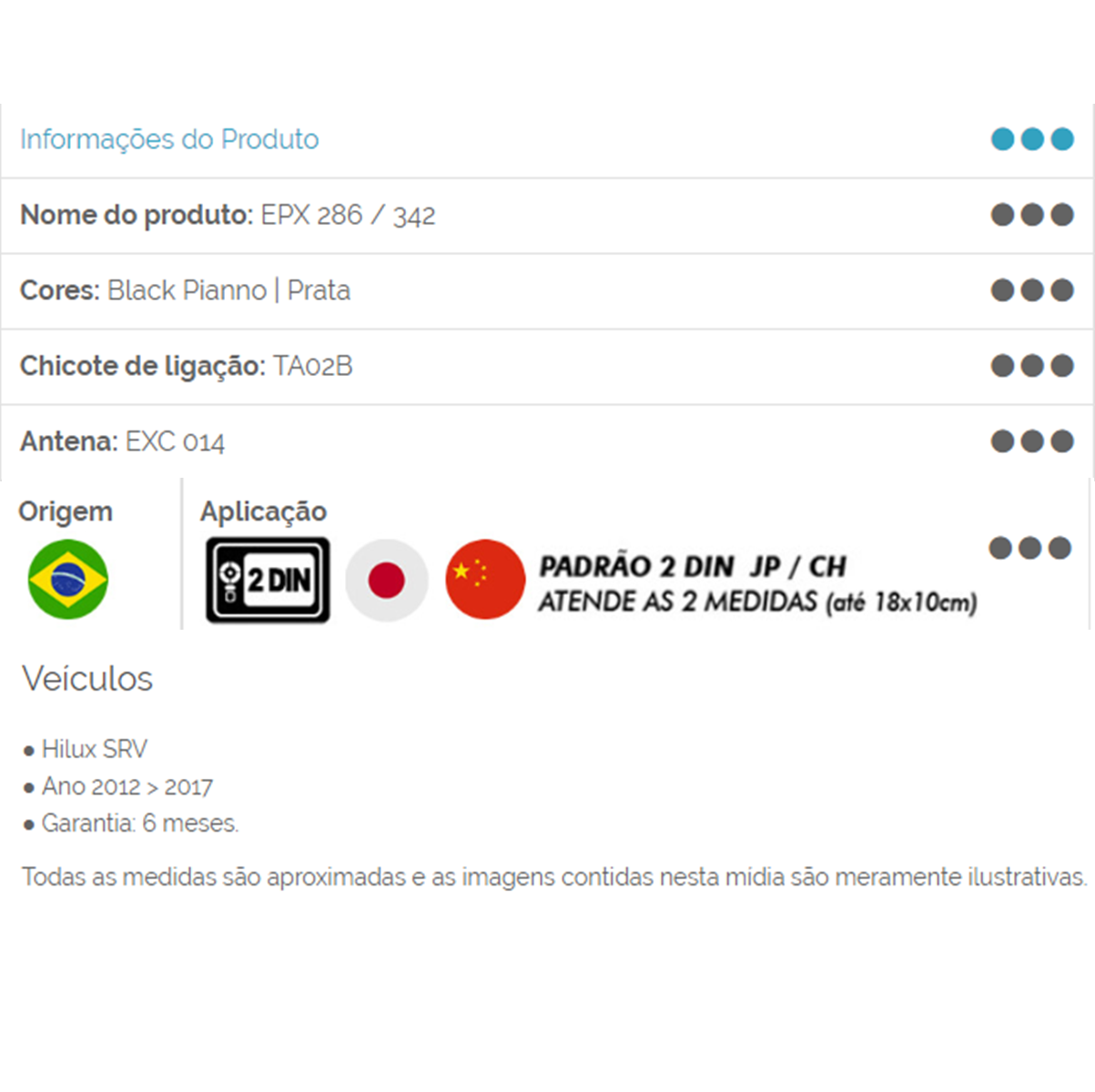Moldura 2 Din Toyota Hilux/SRV 12/... Black Piano EPX342