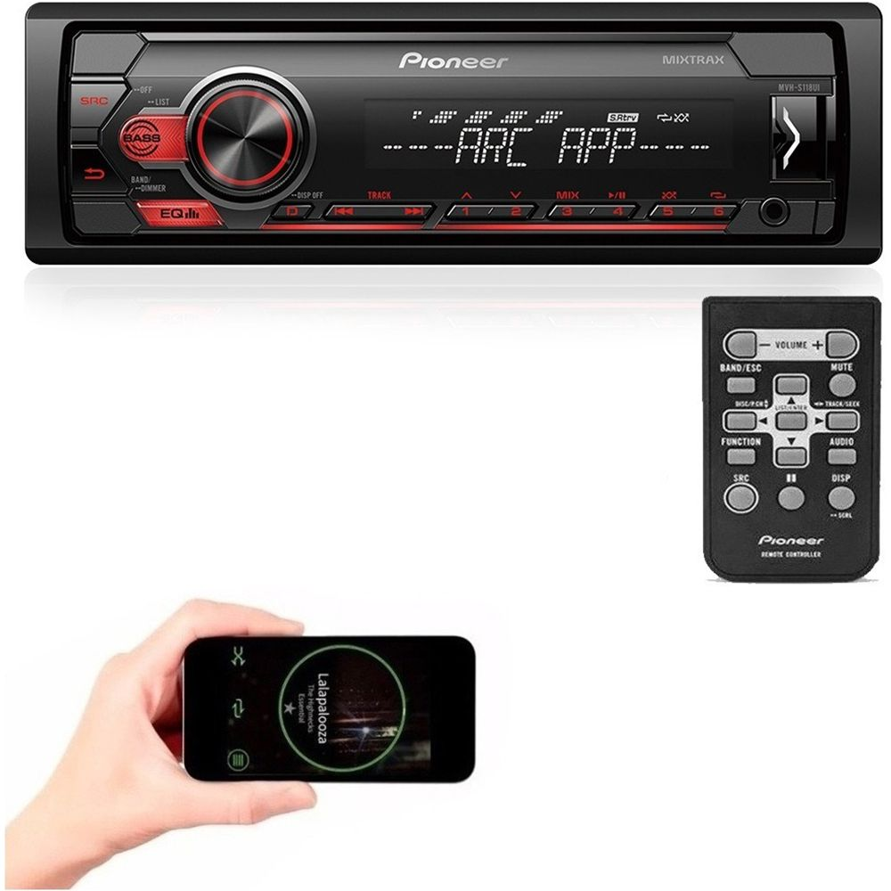 Som Automotivo MVH-S118UI Pioneer 1 DIN USB Spotify Arc Mixtrax