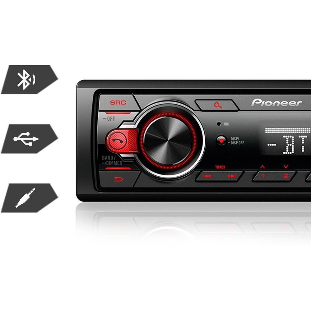Som Automotivo MVH-S218BT Pioneer 1DIN MP3 USB BT Frente destacável AM FM AUX RDS