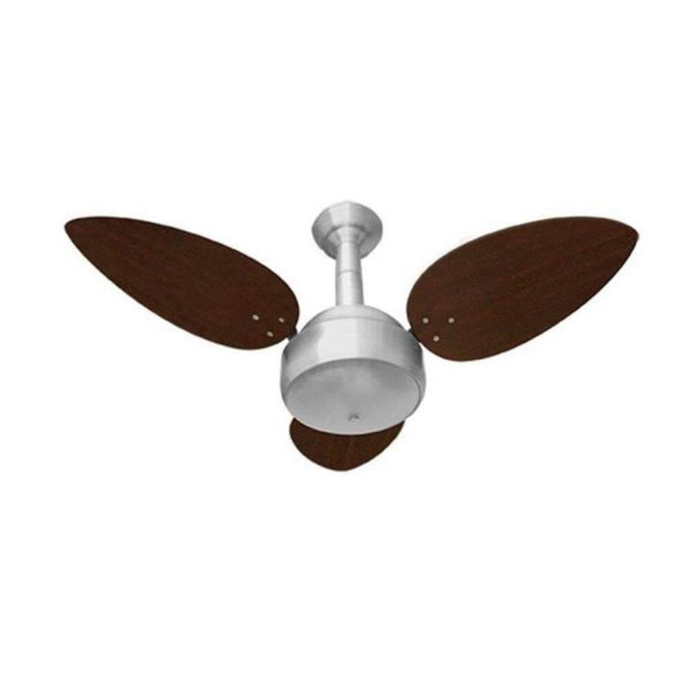 Ventilador de Teto Venti-Delta Miray 3 Pás - Prata e Tabaco 220V
