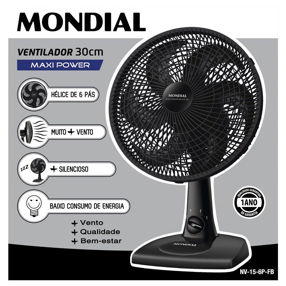 Ventilador Mondial 30cm 6 pas NV-15B Preto 220V