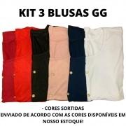 KIT COM 3 BLUSINHAS  GG (CORES VARIADAS)