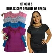 KIT COM 5 BLUSAS COM DETALHE DE RENDA (CORES CONFORME A FOTO)