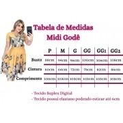 VESTIDO MIDI GODÊ ESTAMPADO (ACOMPANHA CINTO)