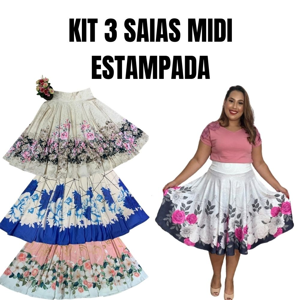 KIT 3 SAIAS MIDI ESTAMPADA
