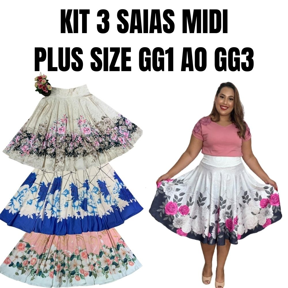 KIT 3 SAIAS MIDI ESTAMPADA PLUS SIZE