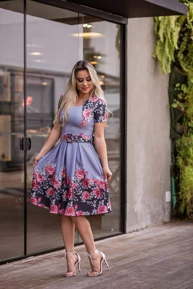 Vestido princesa  com cinto estampado lilás P/M/G/GG
