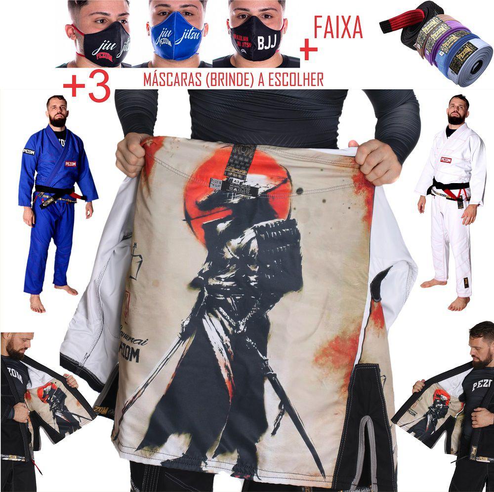 Kimono Jiu Jitsu Trançado 100% Forrado Samurai Color Pezom e Faixa Branca