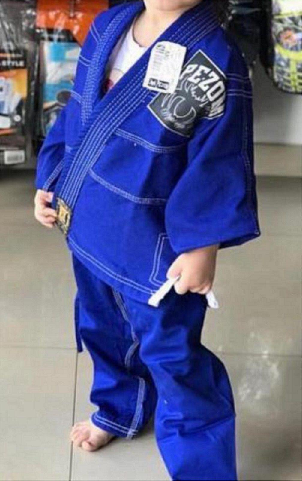Kimono Jiu Jitsu Trançado Infantil Gold Pezom e Faixa Branca