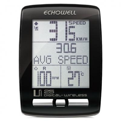 Ciclocomputador Echowell UI25 sem Fio 28 Funções Preto