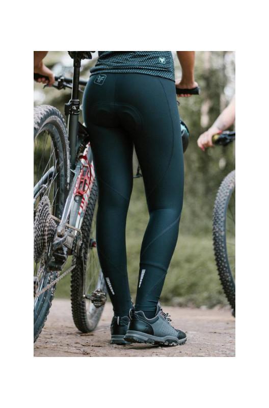 Calça de Ciclismo Feminina Free Force Sport Mona Preta/Turquesa