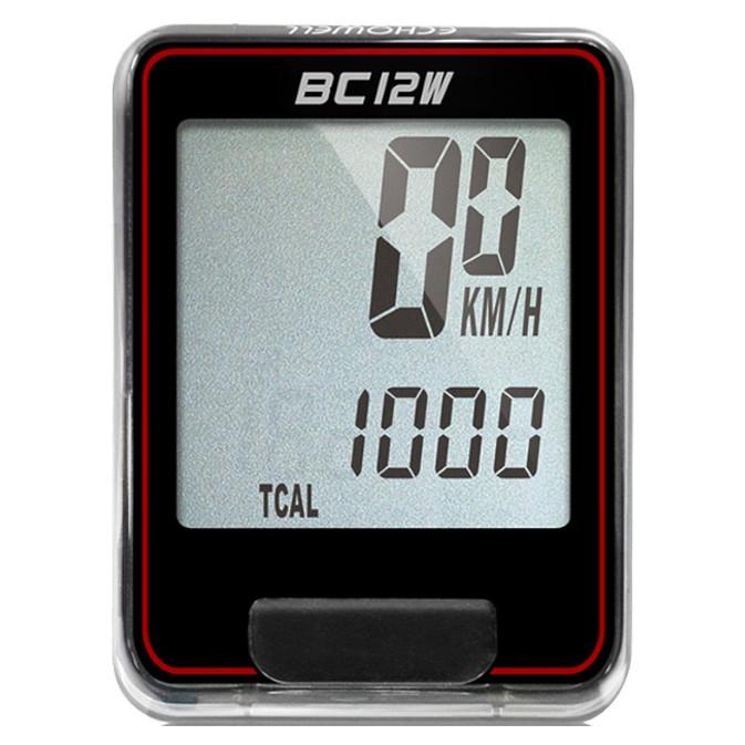 Ciclocomputador Echowell BC12W sem Fio 12 Funções Preto Vermelho