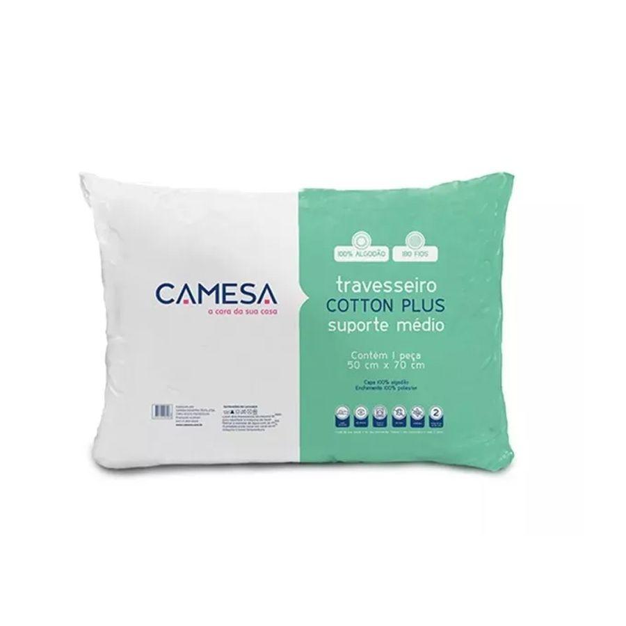 Kit 2 Travesseiro Suporte Medio 50X70Cm Cotton Plus